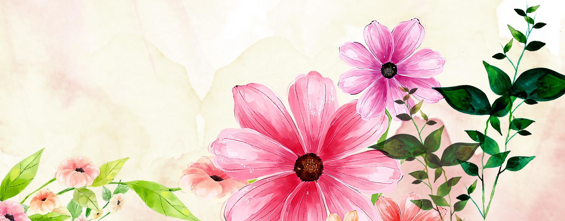 粉色唯美花朵淘宝店铺装修素材图片